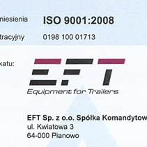 certyfikat iso dla EFT