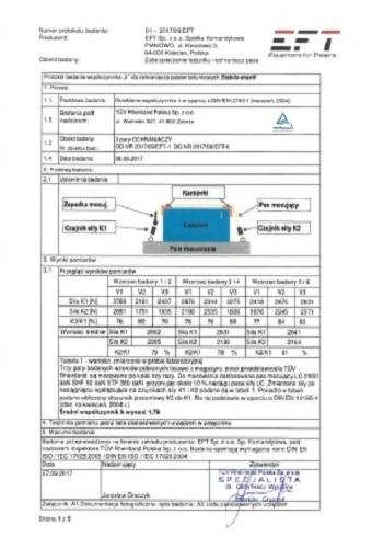 EFT Stabilo Widziszewo Certyfikat Skrzynia Narzędziowa Ochraniacz Mata Certyfikat